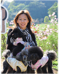 ブリーダーの子犬販売AngelWan(えんじぇるわん)店長の安西と看板犬です。